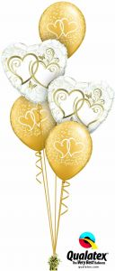 Buket balona Entwined Hearts Gold