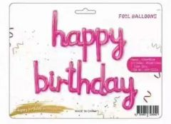 Folijski balon natpis Happy Birthday Magenta