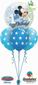 Helijski buket Bubble baloni Mickey Mouse 1st Birthday