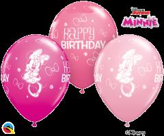 Lateks baloni 28cm Minnie Mouse Bday Special Ast