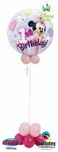 Helijska balonska skulptura Bubble Minnie Mouse 1st Bday