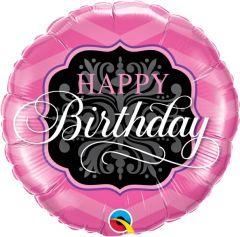 Standard Bday Pink & Black folijski balona