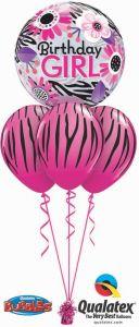 Helijski buket Bubble baloni Birthday Pink Zebra